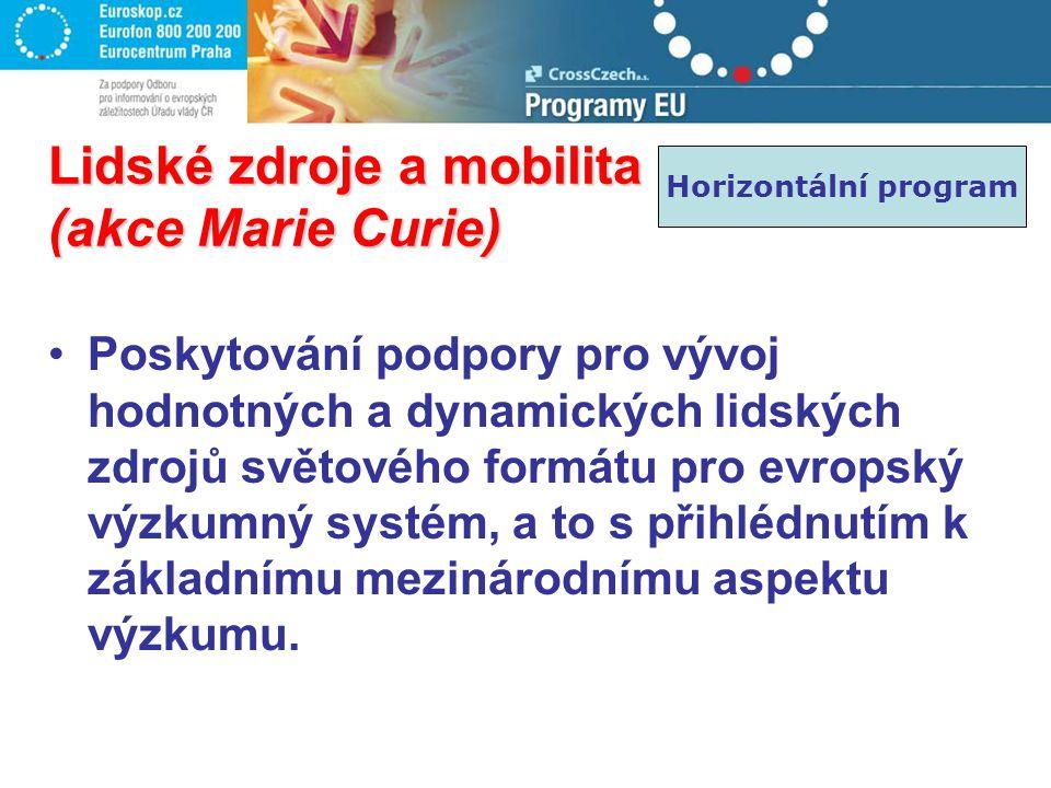 Lidské zdroje a mobilita (akce Marie Curie) Poskytování podpory pro vývoj hodnotných a dynamických lidských zdrojů světového formátu pro evropský výzk