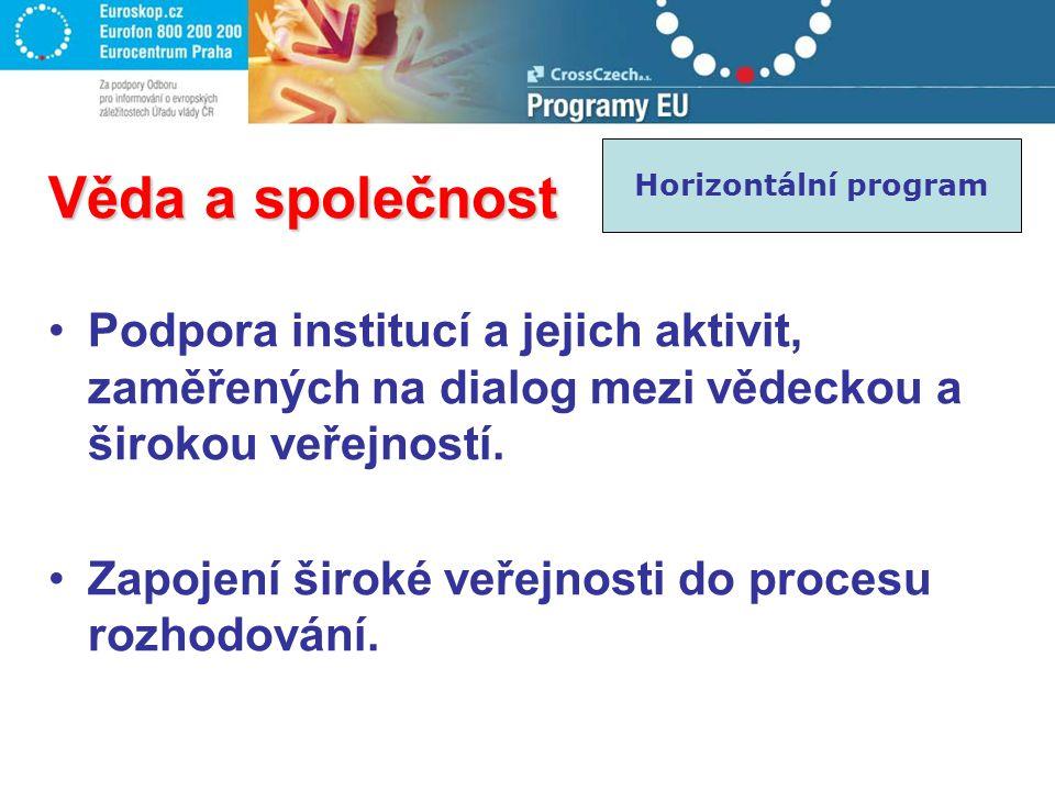 Věda a společnost Podpora institucí a jejich aktivit, zaměřených na dialog mezi vědeckou a širokou veřejností. Zapojení široké veřejnosti do procesu r