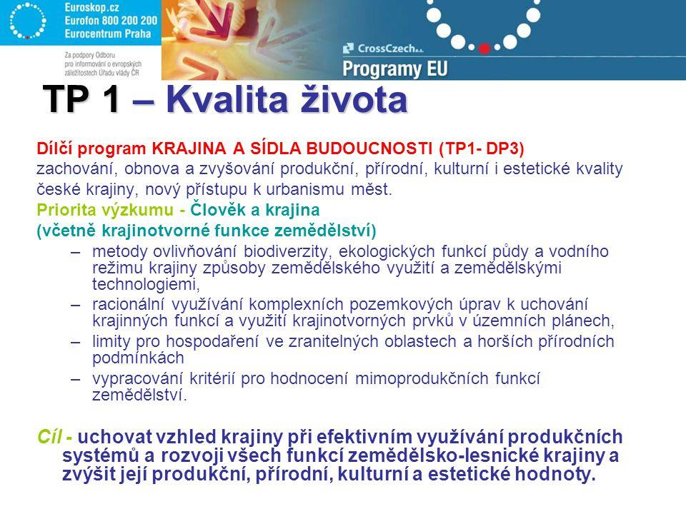 TP 1 – Kvalita života Dílčí program KRAJINA A SÍDLA BUDOUCNOSTI (TP1- DP3) zachování, obnova a zvyšování produkční, přírodní, kulturní i estetické kva