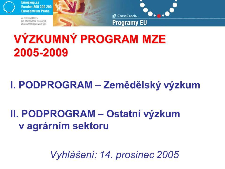 VÝZKUMNÝ PROGRAM MZE 2005-2009 I. PODPROGRAM – Zemědělský výzkum II. PODPROGRAM – Ostatní výzkum v agrárním sektoru Vyhlášení: 14. prosinec 2005
