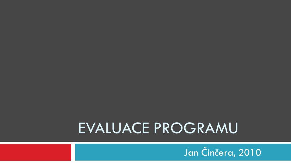Obsah  Úvodní pojmy, příklady, smysl evaluace…  Cyklus evaluace  Tipy Informac e o program u Evaluačn í otázky Plán evaluac e Sběr a analýza dat Evaluačn í zpráva