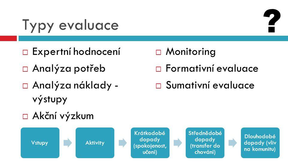 Typy evaluace  Expertní hodnocení  Analýza potřeb  Analýza náklady - výstupy  Akční výzkum  Monitoring  Formativní evaluace  Sumativní evaluace