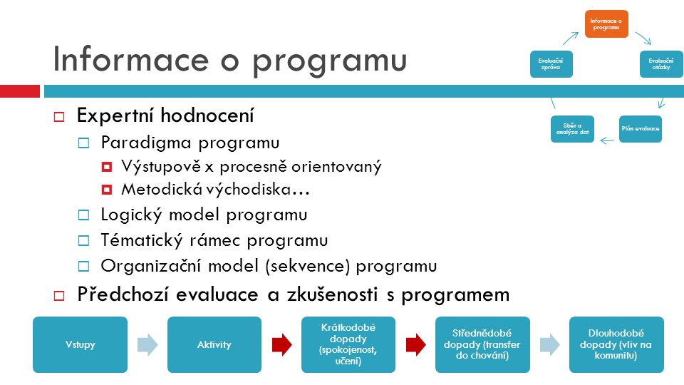Informace o programu  Expertní hodnocení  Paradigma programu  Výstupově x procesně orientovaný  Metodická východiska…  Logický model programu  T