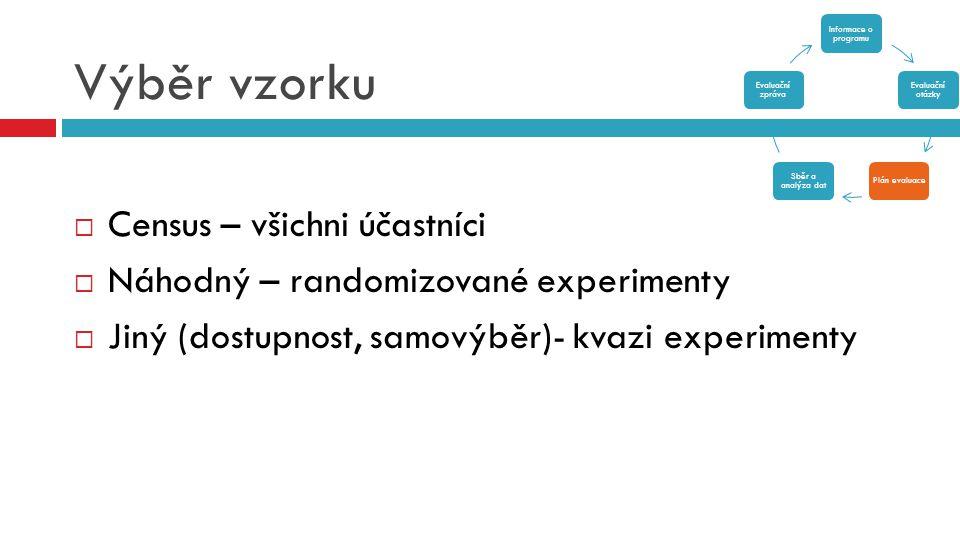 Výběr vzorku  Census – všichni účastníci  Náhodný – randomizované experimenty  Jiný (dostupnost, samovýběr)- kvazi experimenty Informace o programu
