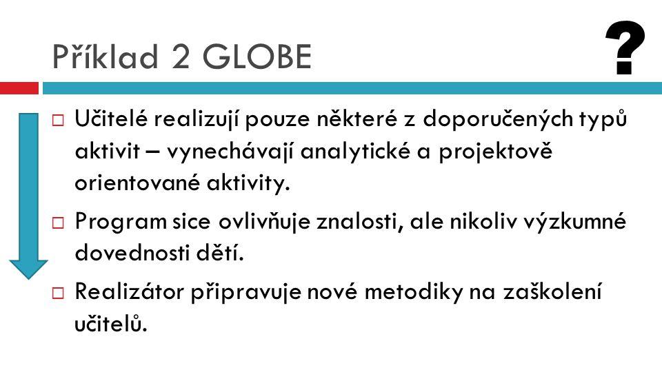 Příklad 2 GLOBE  Učitelé realizují pouze některé z doporučených typů aktivit – vynechávají analytické a projektově orientované aktivity.  Program si
