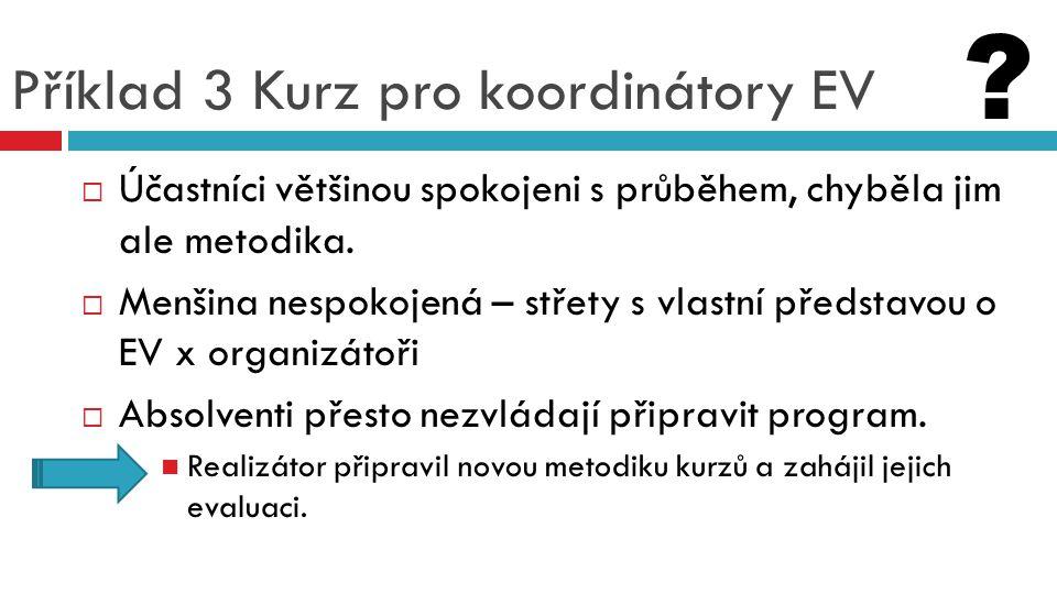 Příklad 3 Kurz pro koordinátory EV  Účastníci většinou spokojeni s průběhem, chyběla jim ale metodika.  Menšina nespokojená – střety s vlastní předs