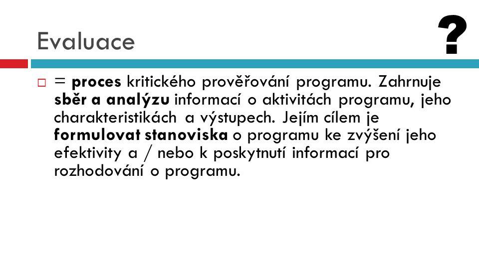 Evaluace  = proces kritického prověřování programu. Zahrnuje sběr a analýzu informací o aktivitách programu, jeho charakteristikách a výstupech. Její