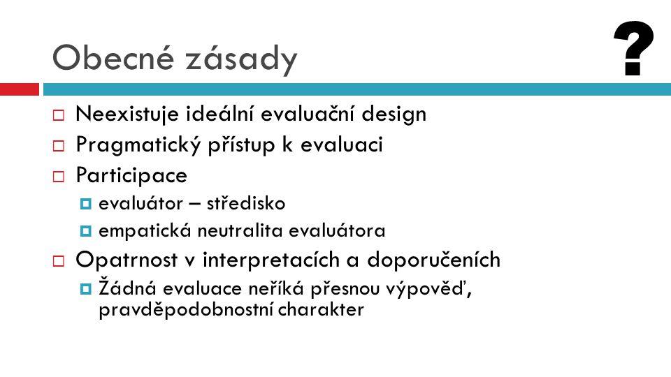 Obecné zásady  Neexistuje ideální evaluační design  Pragmatický přístup k evaluaci  Participace  evaluátor – středisko  empatická neutralita eval