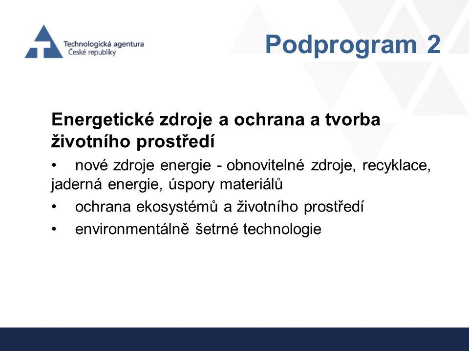 Podprogram 2 Energetické zdroje a ochrana a tvorba životního prostředí nové zdroje energie - obnovitelné zdroje, recyklace, jaderná energie, úspory ma