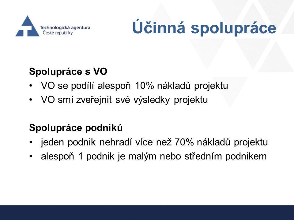 Účinná spolupráce Spolupráce s VO VO se podílí alespoň 10% nákladů projektu VO smí zveřejnit své výsledky projektu Spolupráce podniků jeden podnik neh