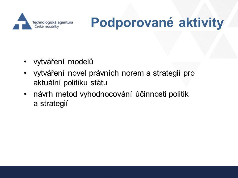 Podporované aktivity vytváření modelů vytváření novel právních norem a strategií pro aktuální politiku státu návrh metod vyhodnocování účinnosti polit