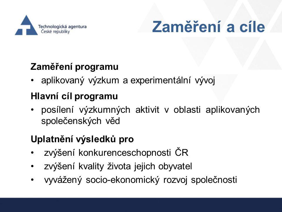 Zaměření a cíle Zaměření programu aplikovaný výzkum a experimentální vývoj Hlavní cíl programu posílení výzkumných aktivit v oblasti aplikovaných spol