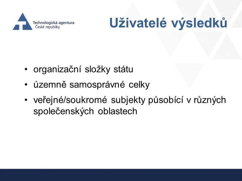 Uživatelé výsledků organizační složky státu územně samosprávné celky veřejné/soukromé subjekty působící v různých společenských oblastech