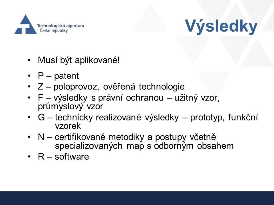 Výsledky Musí být aplikované! P – patent Z – poloprovoz, ověřená technologie F – výsledky s právní ochranou – užitný vzor, průmyslový vzor G – technic