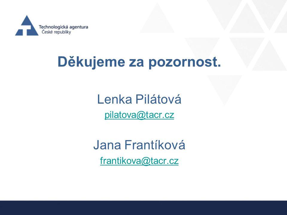 Děkujeme za pozornost. Lenka Pilátová pilatova@tacr.cz Jana Frantíková frantikova@tacr.cz