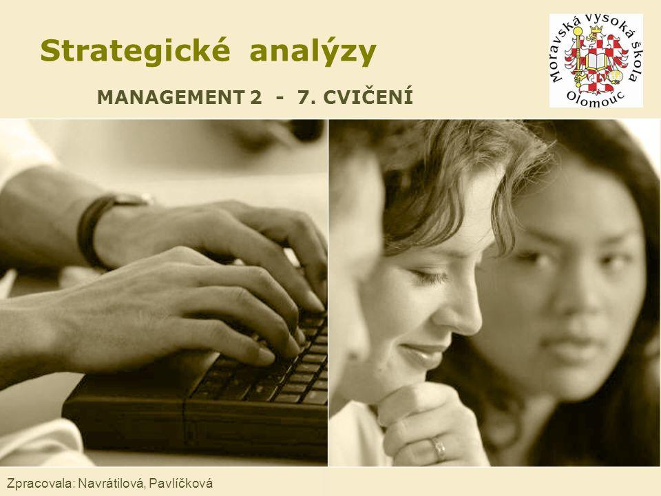 Strategické analýzy MANAGEMENT 2 - 7. CVIČENÍ Zpracovala: Navrátilová, Pavlíčková
