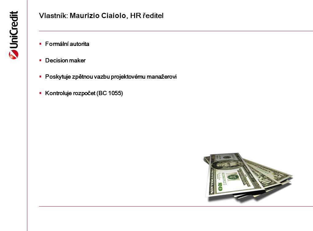 Vlastník: Maurizio Ciaiolo, HR ředitel  Formální autorita  Decision maker  Poskytuje zpětnou vazbu projektovému manažerovi  Kontroluje rozpočet (B