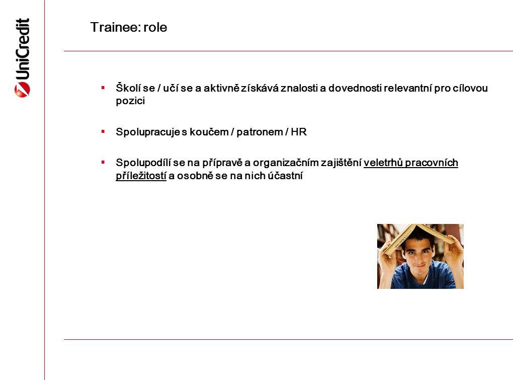 Trainee: role  Školí se / učí se a aktivně získává znalosti a dovednosti relevantní pro cílovou pozici  Spolupracuje s koučem / patronem / HR  Spol
