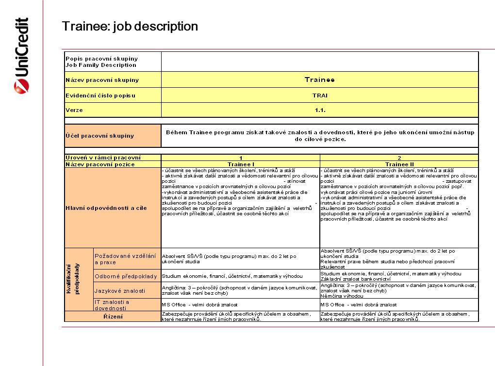 Trainee: job description 16
