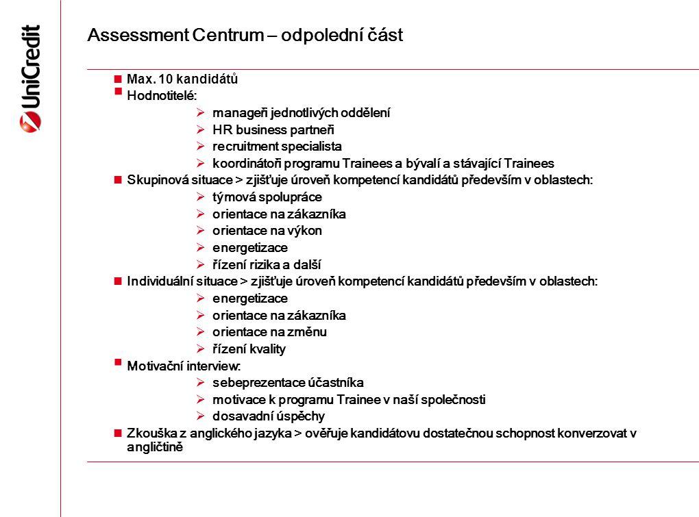 Assessment Centrum – odpolední část Max. 10 kandidátů  Hodnotitelé:  manageři jednotlivých oddělení  HR business partneři  recruitment specialista