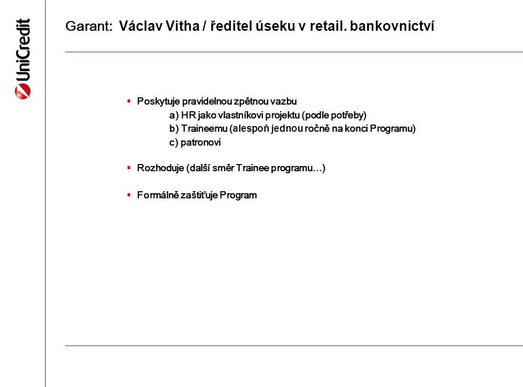 Garant: Václav Vitha / ředitel úseku v retail. bankovnictví  Poskytuje pravidelnou zpětnou vazbu a) HR jako vlastníkovi projektu (podle potřeby) b) T
