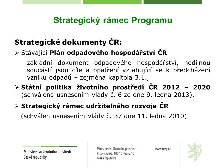 Strategický rámec Programu Strategické dokumenty ČR:  Stávající Plán odpadového hospodářství ČR základní dokument odpadového hospodářství, nedílnou s