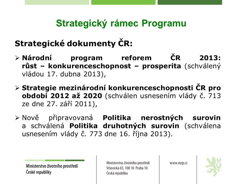 Strategický rámec Programu Strategické dokumenty ČR:  Národní program reforem ČR 2013: růst – konkurenceschopnost – prosperita (schválený vládou 17.
