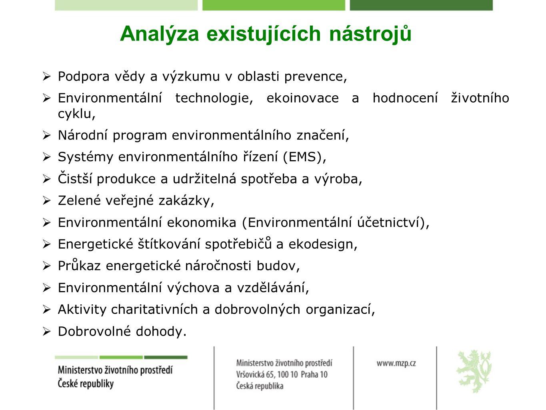 Analýza existujících nástrojů  Podpora vědy a výzkumu v oblasti prevence,  Environmentální technologie, ekoinovace a hodnocení životního cyklu,  Národní program environmentálního značení,  Systémy environmentálního řízení (EMS),  Čistší produkce a udržitelná spotřeba a výroba,  Zelené veřejné zakázky,  Environmentální ekonomika (Environmentální účetnictví),  Energetické štítkování spotřebičů a ekodesign,  Průkaz energetické náročnosti budov,  Environmentální výchova a vzdělávání,  Aktivity charitativních a dobrovolných organizací,  Dobrovolné dohody.