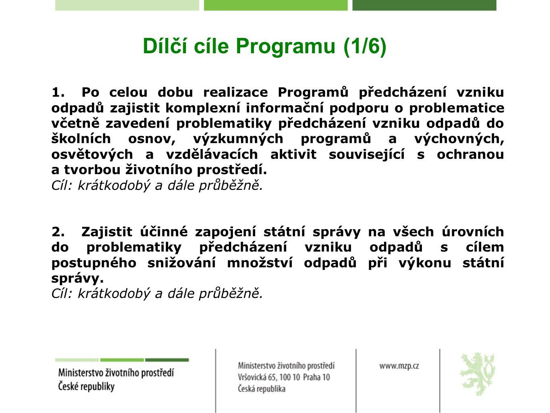 Dílčí cíle Programu (1/6) 1.Po celou dobu realizace Programů předcházení vzniku odpadů zajistit komplexní informační podporu o problematice včetně zav