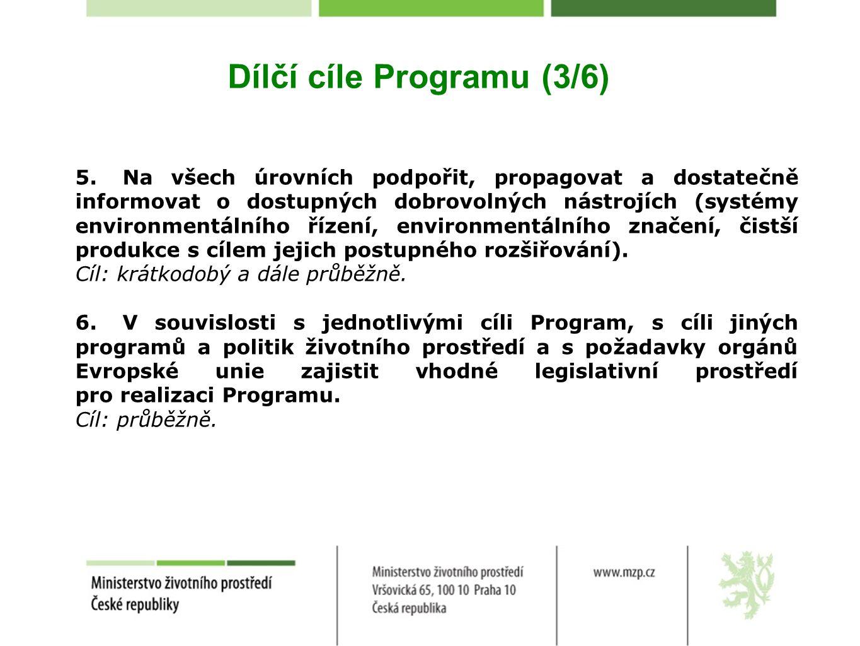 Dílčí cíle Programu (3/6) 5.Na všech úrovních podpořit, propagovat a dostatečně informovat o dostupných dobrovolných nástrojích (systémy environmentálního řízení, environmentálního značení, čistší produkce s cílem jejich postupného rozšiřování).