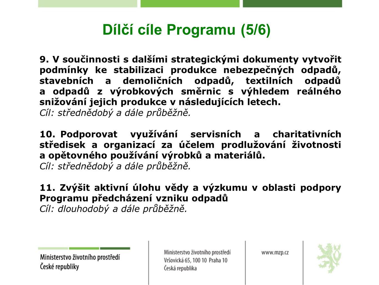 Dílčí cíle Programu (5/6) 9. V součinnosti s dalšími strategickými dokumenty vytvořit podmínky ke stabilizaci produkce nebezpečných odpadů, stavebních
