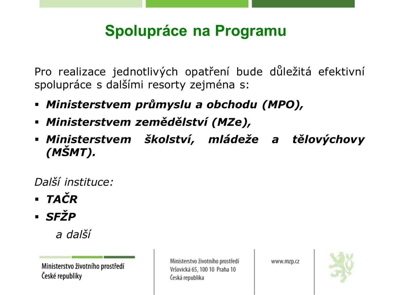 Spolupráce na Programu Pro realizace jednotlivých opatření bude důležitá efektivní spolupráce s dalšími resorty zejména s:  Ministerstvem průmyslu a