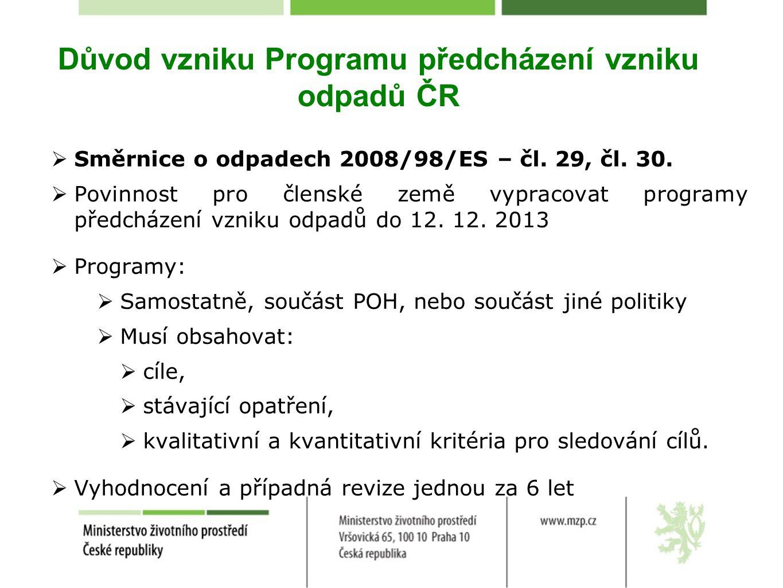 Důvod vzniku Programu předcházení vzniku odpadů ČR  Směrnice o odpadech 2008/98/ES – čl. 29, čl. 30.  Povinnost pro členské země vypracovat programy