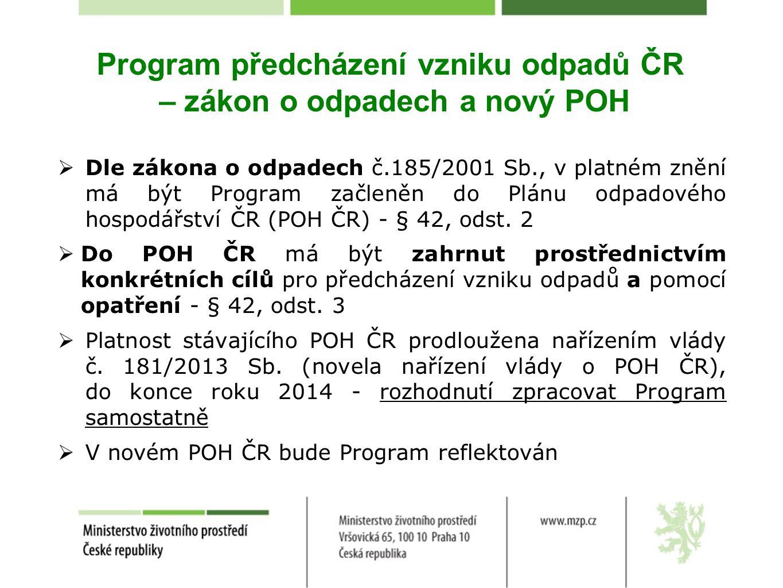 Program předcházení vzniku odpadů ČR – zákon o odpadech a nový POH  Dle zákona o odpadech č.185/2001 Sb., v platném znění má být Program začleněn do Plánu odpadového hospodářství ČR (POH ČR) - § 42, odst.