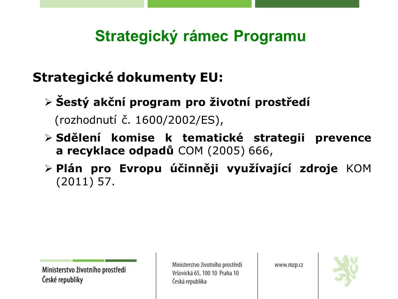 Strategický rámec Programu Strategické dokumenty EU:  Šestý akční program pro životní prostředí (rozhodnutí č. 1600/2002/ES),  Sdělení komise k tema