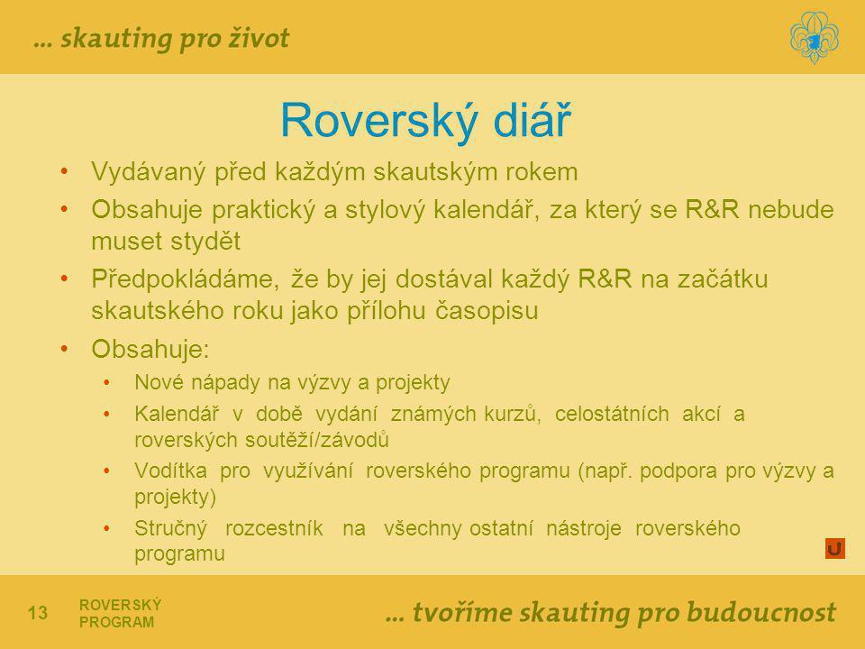13 ROVERSKÝ PROGRAM Roverský diář Vydávaný před každým skautským rokem Obsahuje praktický a stylový kalendář, za který se R&R nebude muset stydět Předpokládáme, že by jej dostával každý R&R na začátku skautského roku jako přílohu časopisu Obsahuje: Nové nápady na výzvy a projekty Kalendář v době vydání známých kurzů, celostátních akcí a roverských soutěží/závodů Vodítka pro využívání roverského programu (např.