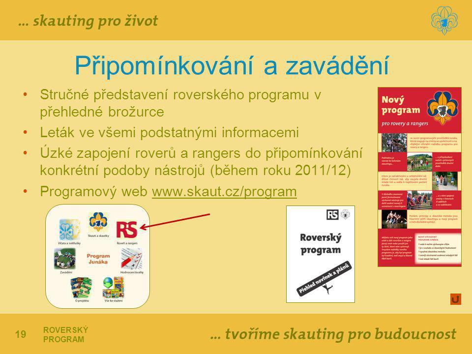 19 ROVERSKÝ PROGRAM Připomínkování a zavádění Stručné představení roverského programu v přehledné brožurce Leták ve všemi podstatnými informacemi Úzké zapojení roverů a rangers do připomínkování konkrétní podoby nástrojů (během roku 2011/12) Programový web www.skaut.cz/programwww.skaut.cz/program