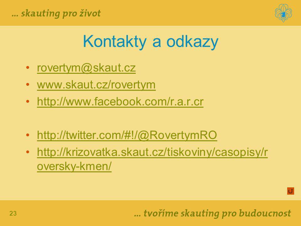 23 Kontakty a odkazy rovertym@skaut.cz www.skaut.cz/rovertym http://www.facebook.com/r.a.r.cr http://twitter.com/#!/@RovertymRO http://krizovatka.skaut.cz/tiskoviny/casopisy/r oversky-kmen/http://krizovatka.skaut.cz/tiskoviny/casopisy/r oversky-kmen/
