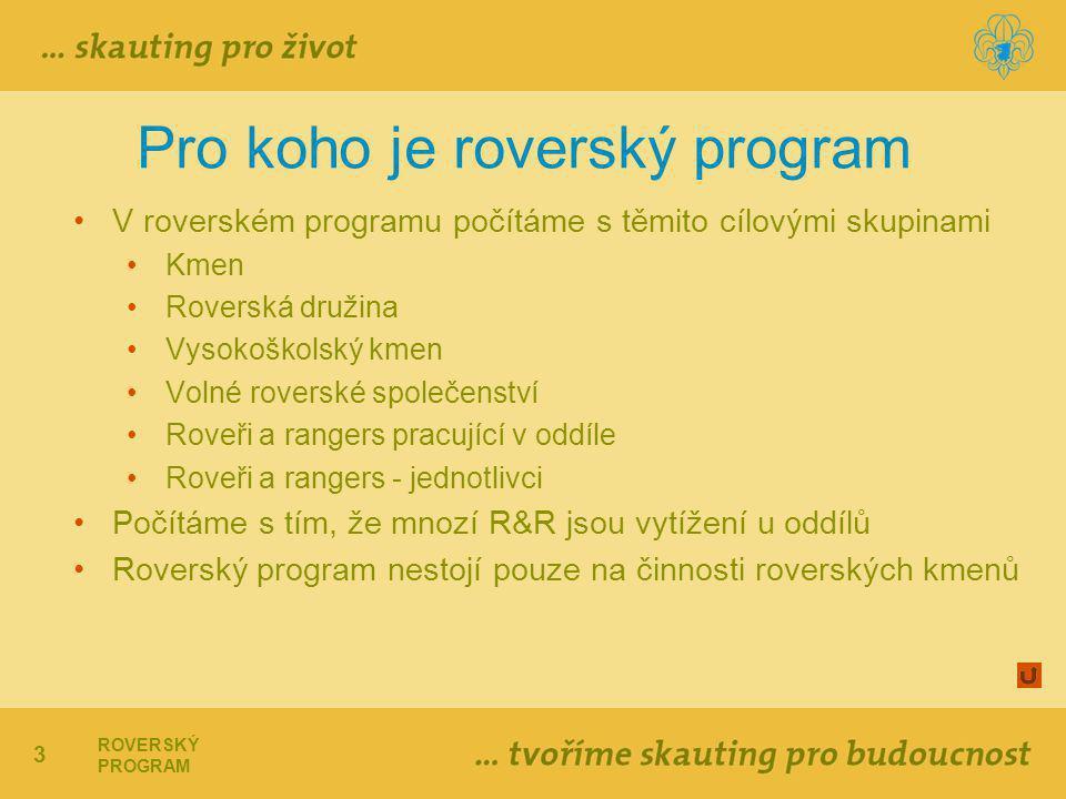 3 ROVERSKÝ PROGRAM Pro koho je roverský program V roverském programu počítáme s těmito cílovými skupinami Kmen Roverská družina Vysokoškolský kmen Volné roverské společenství Roveři a rangers pracující v oddíle Roveři a rangers - jednotlivci Počítáme s tím, že mnozí R&R jsou vytížení u oddílů Roverský program nestojí pouze na činnosti roverských kmenů