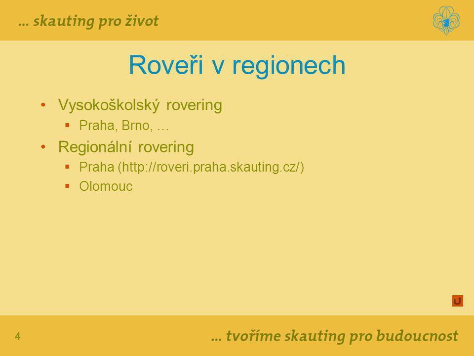 4 Roveři v regionech Vysokoškolský rovering  Praha, Brno, … Regionální rovering  Praha (http://roveri.praha.skauting.cz/)  Olomouc