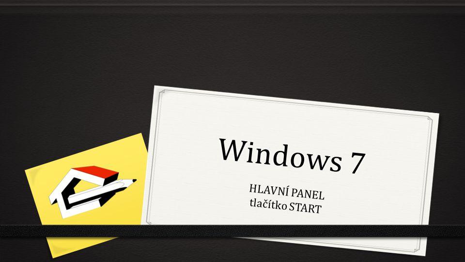 Windows 7 HLAVNÍ PANEL tlačítko START