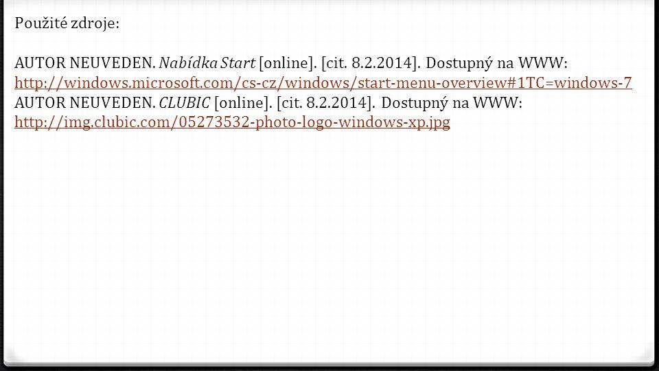 Použité zdroje: AUTOR NEUVEDEN. Nabídka Start [online]. [cit. 8.2.2014]. Dostupný na WWW: http://windows.microsoft.com/cs-cz/windows/start-menu-overvi