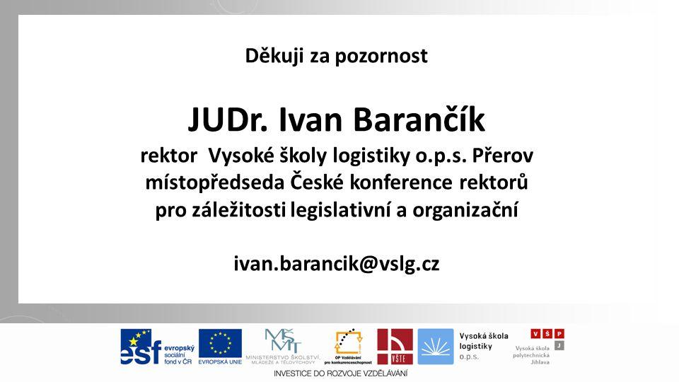 Děkuji za pozornost JUDr. Ivan Barančík rektor Vysoké školy logistiky o.p.s.