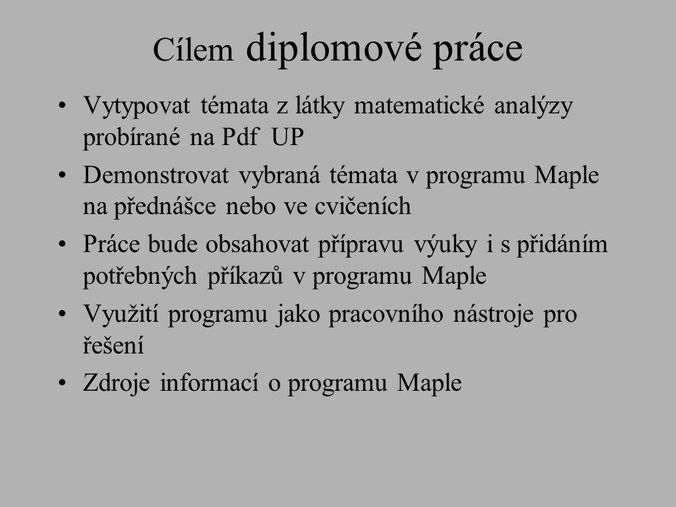 Vytypovat témata z látky matematické analýzy probírané na Pdf UP Demonstrovat vybraná témata v programu Maple na přednášce nebo ve cvičeních Práce bud