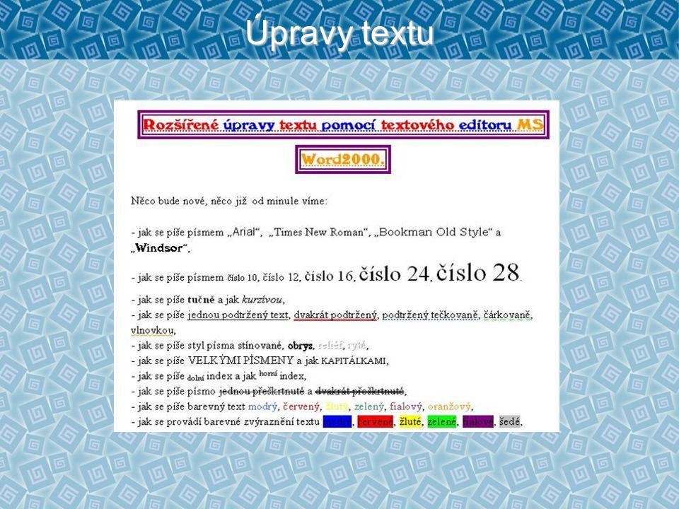Úpravy textu
