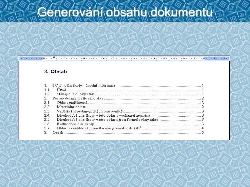 Generování obsahu dokumentu