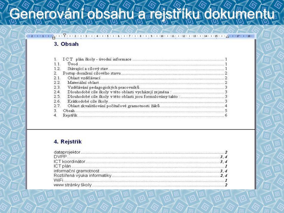 Generování obsahu a rejstříku dokumentu