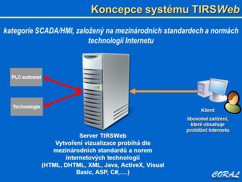 kategorie SCADA/HMI, založený na mezinárodních standardech a normách technologií Internetu PLC automat Technologie Server TIRSWeb Vytvoření vizualizace probíhá dle mezinárodních standardů a norem internetových technologií (HTML, DHTML, XML, Java, ActiveX, Visual Basic, ASP, C#,….) Koncepce systému TIRSWeb Klient libovolné zařízení, které obsahuje prohlížeč Internetu