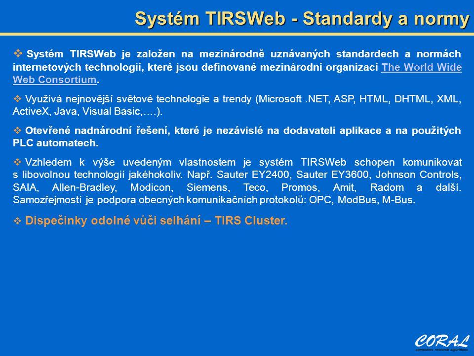  Systém TIRSWeb je založen na mezinárodně uznávaných standardech a normách internetových technologií, které jsou definované mezinárodní organizací The World Wide Web Consortium.The World Wide Web Consortium  Využívá nejnovější světové technologie a trendy (Microsoft.NET, ASP, HTML, DHTML, XML, ActiveX, Java, Visual Basic,….).
