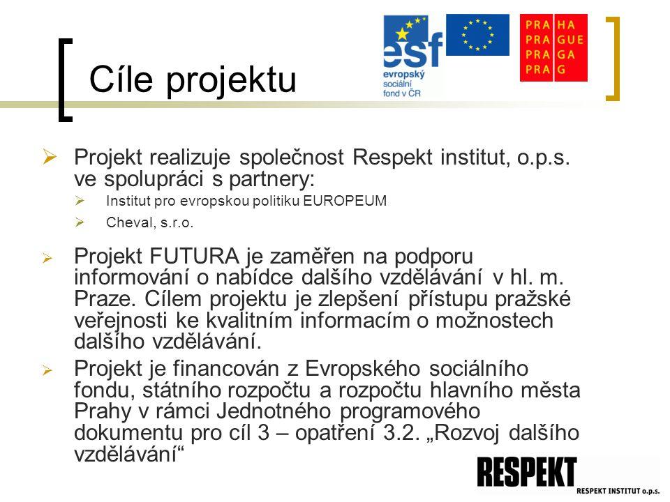 Cíle projektu  Projekt realizuje společnost Respekt institut, o.p.s.